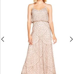 Adrianna Papell beaded art deco taupe/pink dress